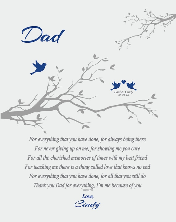 Wedding Thank You Gift for Dad from Daughter or Son-Personalized Wedding  Print for Dad-Father of Bride-Father of Groom-Choice of Poem