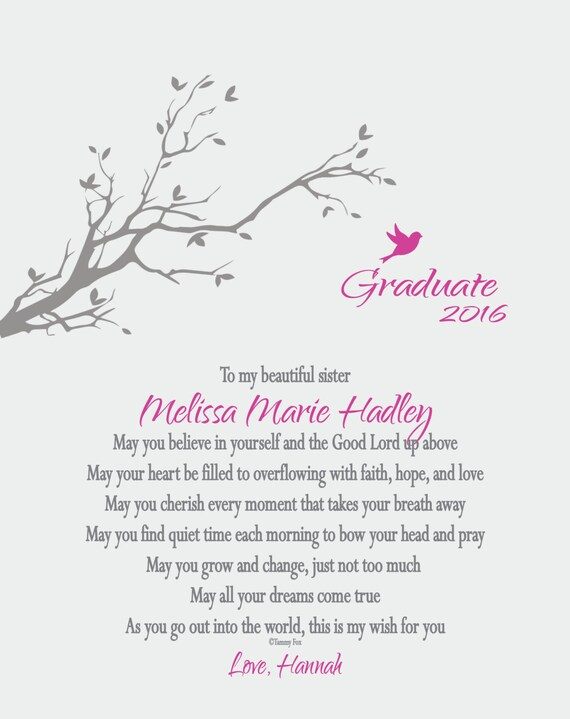 Graduation Gift for Her-Graduation Gift for Him-Graduation  2016-Personalized Graduation Print-My Wish for You Poem