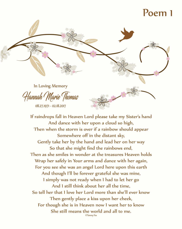 Loss Of Sister In Memory Of Sister Sister Memorial Etsy