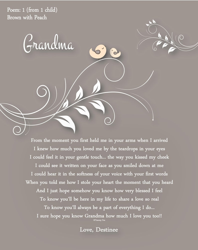 Custom Grandma Gifts-Personalized Christmas Print-New Grandmother Gift-Gift  from First Grandchild-Gifts from Grandchildren-Choice of Poem