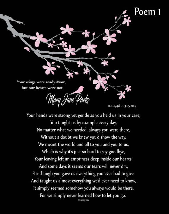 In Memory Of Mom Loss Of Mother Mom Memorial Print Mother In Heaven Personalized Memorial Poem Sympathy Gift Condolence Gift Choice Of Poem