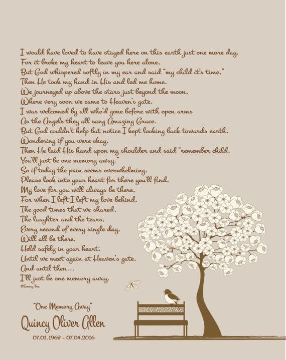 Memorial Poem for the Loss of a Loved One with Photo Ready for Frame
