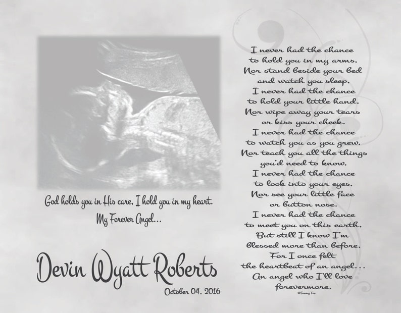 Miscarriage Memorial Poem-Loss of Unborn Baby-In Loving Memory-Sympathy Gift-Personalized Sonogram Print-Heartbeat Of An Angel Poem