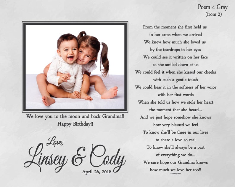 Grandma Mothers Day-To Grandma from Grand Kids-Gift from Grandson-Gift from Granddaughter-Gifts from Twins-Gift from Siblings-Choice of Poem