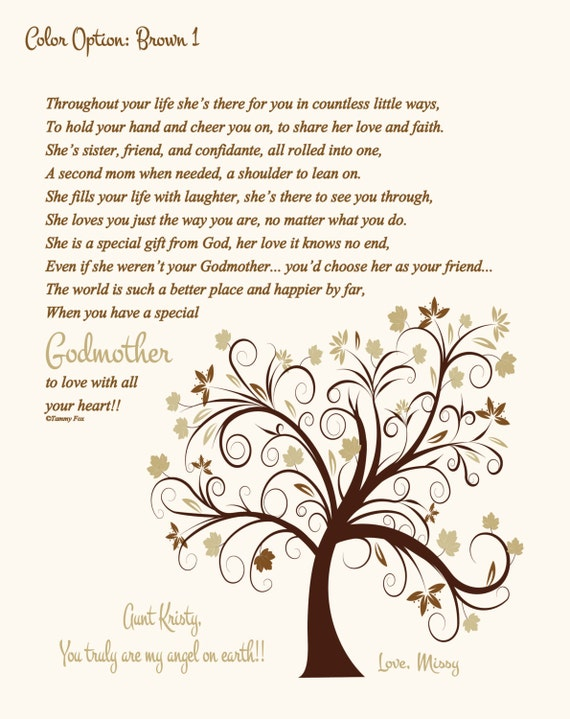 To Godmother From Adult Goddaughter Godmother Thank You Etsy
