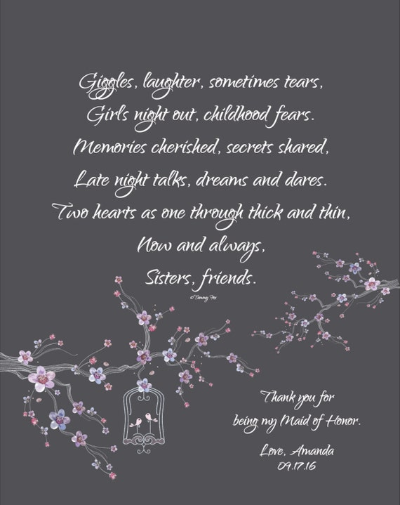 Maid Of Honor Print Bridesmaid Thank You Gift Sisters Poem Etsy