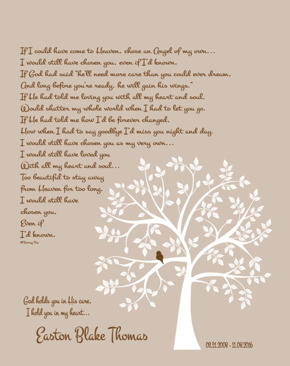 Loss of Son Memorial Print-Childhood Cancer Memorial Poem for Him-In Loving  Memory-Loss of Baby Boy-Sympathy Gift-Even If I'd Known Poem