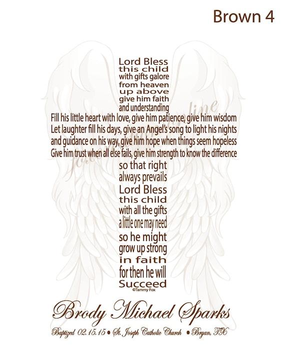 Baptism Gift For Godson Cross Text Prayer Poem Lord Bless This Etsy