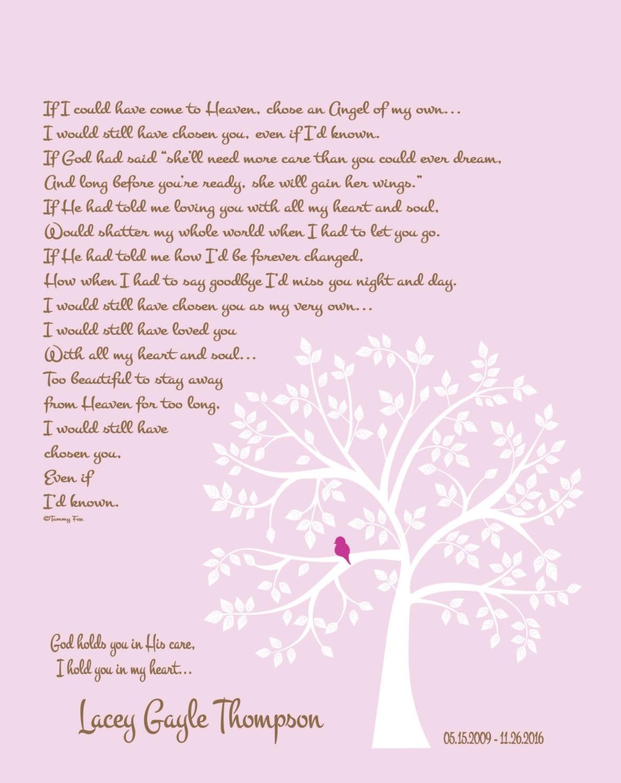 Loss of Daughter Poem-Childhood Cancer Memorial Print for   Etsy