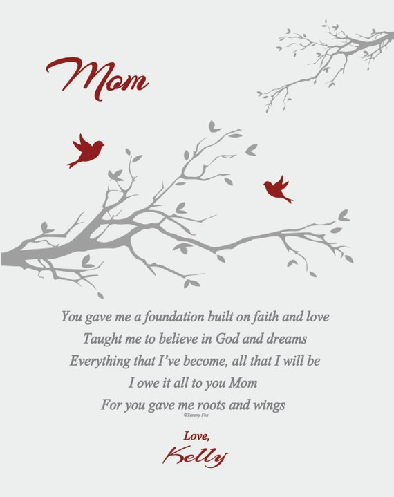 Mothers Day Gift To Mom From Daughter To Mom From Son Mothers Day Poem Personalized Mothers Day Print Choice Of Color Choice Of Poem