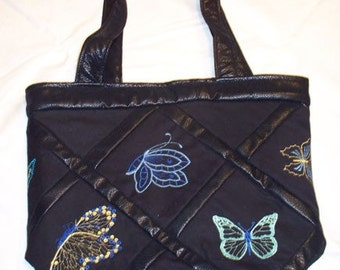 Embroidered Black Tote