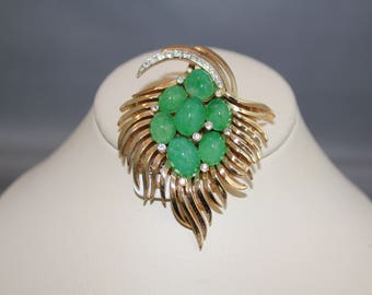 Crown Trifari Flawed Emerald Jewels of India Pin