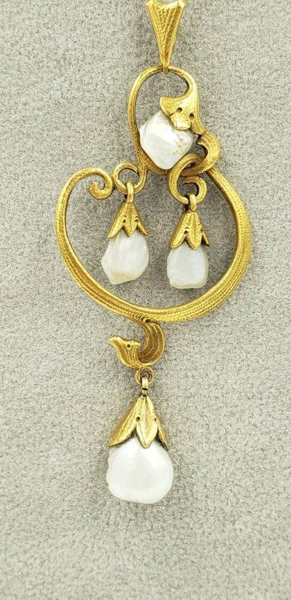 18k Art Nouveau Pearl Necklace