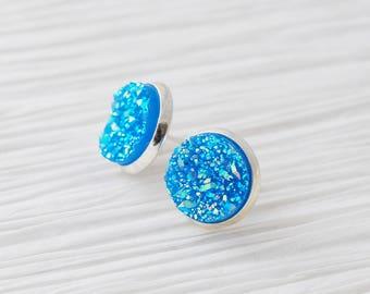 Blue Druzy Earrings, Silver Studs, Druzy Stud Earrings, Large Studs, Blue Studs, Faux Druzy, Silver Stud Earrings, Faux Plugs, Gifts For Her