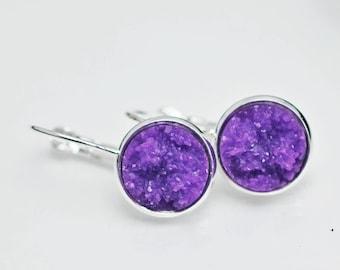Purple Faux Druzy, Drop Earrings, Druzy Earrings, Purple Earrings, Faux Druzy, Leverback Earrings, Purple Drusy Earrings, Silver Earrings