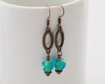 Teal and Copper Earrings, Teal Earrings, Copper Earrings, Beaded Earrings, Copper Jewelry, Boho Earrings, Drop Earrings, Gift For Her
