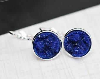 Blue Druzy Earrings, Druzy Earrings, Blue Earrings, Faux Druzy Earrings, Leverback Earrings, Blue Drop Earrings, Silver Earrings, For Her