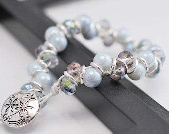 Silver Goddess Bracelet, Gray Bracelet, Goddess Bracelet, Silver Bracelet, Beaded Bracelet, Leather Bracelet, White Bracelet, Wrap Bracelet