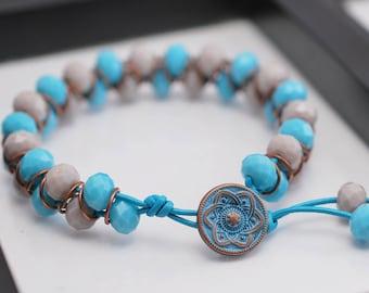Copper Goddess Bracelet, Blue Bracelet, Goddess Bracelet, Copper Bracelet, Beaded Bracelet, Leather Bracelet, Gray Bracelet, Wrap Bracelet