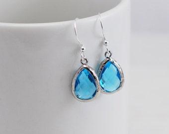 Blue Topaz Earrings, Aqua Earrings, Teardrop Earrings, Drop Earrings, Blue Earrings, Bright Earrings, Bridal Earrings, Bridesmaid Earrings