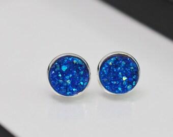 Blue Druzy Earrings, Blue Druzy Studs, Silver Stud Earrings, Druzy Earrings, Blue Earrings, Faux Druzy, Silver Druzy Studs, Gift Idea, Geode