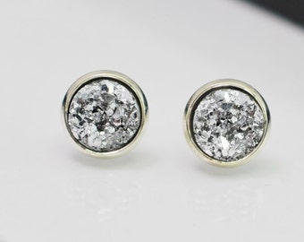Silver Druzy Earrings, Small Studs, Raw Crystal Earrings, Druzy Studs, Silver Earrings, Faux Druzy, Geode Earrings, For Her, Gift for Teens