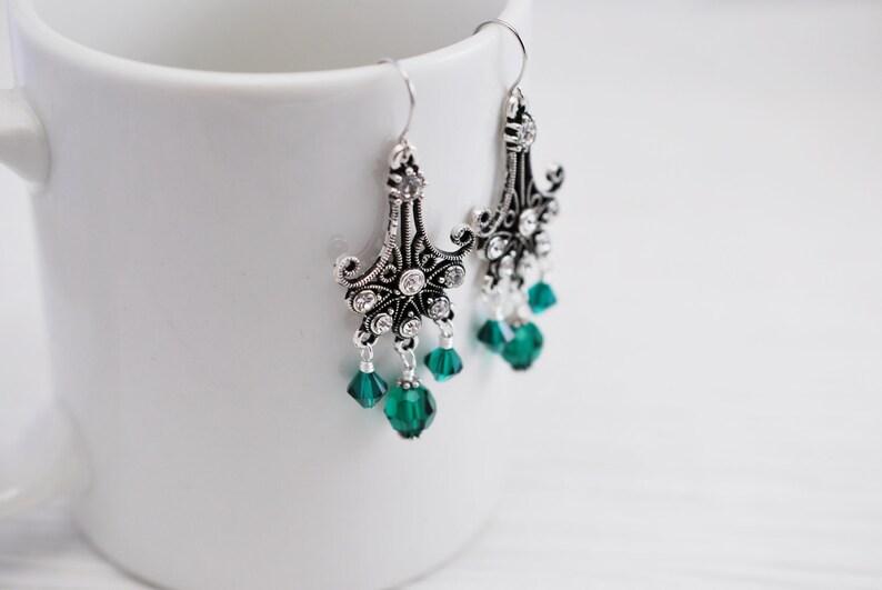 Art Deco Earrings Romantic Earrings Emerald Jewelry Chandelier Earrings Art Nouveau Emerald Earrings Victorian Earrings Gift for Her