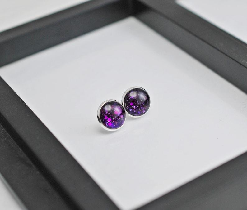 For Her Gift Purple Stud Earrings Silver Earrings Purple Earrings Stud Earrings Dark Purple Stud Earrings Silver Purple Studs
