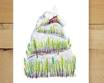 Bear Mountain - whimsical bear and forest illustration fine art print