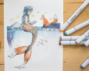 Foxtail Mermaid - whimsical Mermaid and fox illustration