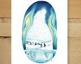 Penguins & Polar bear - Polar bear and penguin illustration