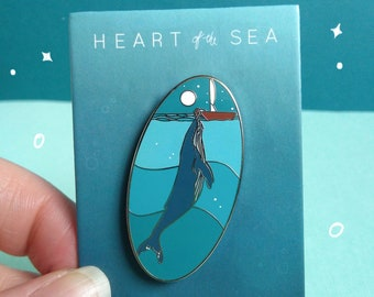Heart of the Sea Enamel Pin | Girl and whale hard enamel pin. Whale badge. Whale pin. Silver enamel pin. Whale Enamel Pin Badge.