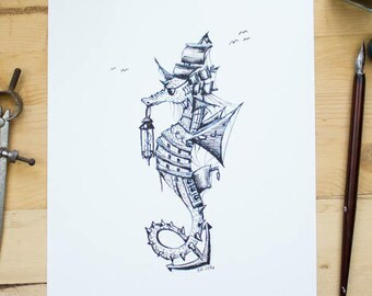 Pirate Ship Seahorse - Ink drawing of a seahorse turned Pirate. Steampunk art
