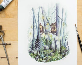 Mystical Forest - Whimsical Forest and Treehouse watercolor illustration