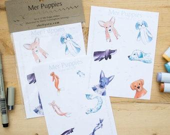Mer-Puppy Stickers - set of 12 round stickers. Corgi, dachshund, dalmation, shih tzu, german shepherd, yellow lab mermaid dogs