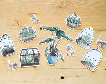 House Plant Stickers - stationary, scrapbook, journal stickers of house plants and succulents