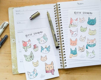 Kitty Stickers - set of 21 kiss-cut stickers of cats