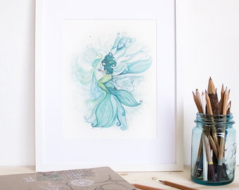 Marianas and the Oyster | Mermaid Watercolor Painting. Mere Series. Whimsical art. Mermaid Art. Aqua Art. Beach Decor. Ocean Art.