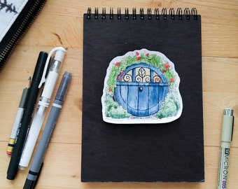 Hobbit Door - Blue hobbit hole vinyl sticker