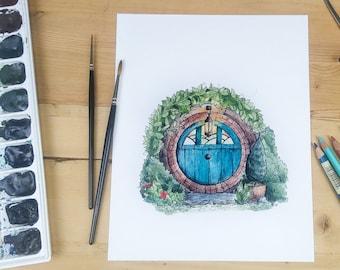 Hobbit Door in turquoise - round door and garden illustration