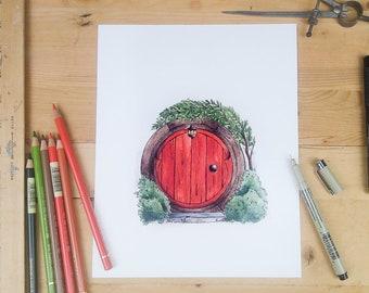 Hobbit Door in red - round door and garden illustration