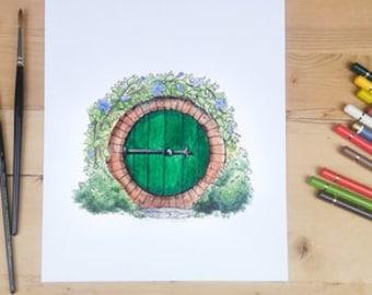 Hobbit Door in green - round door and garden illustration, Bilbo Baggins' house
