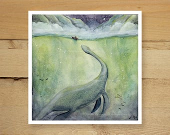 Loch Ness - whimsical loch ness illustration, sea monster series, watercolor lochness monster