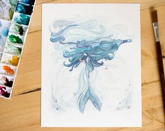 Muirin and the Fish | Mermaid Watercolor Painting. Mere Series. Whimsical art. Mermaid Art. Beach Decor. Ocean Art. Fantasy Art.
