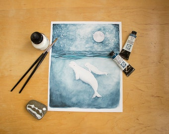 The White Whales | Beluga Whale Illustration. Watercolor Painting. Whale Painting. Whale Print. Whale Art.Mom and Baby Art. Beach Decor.