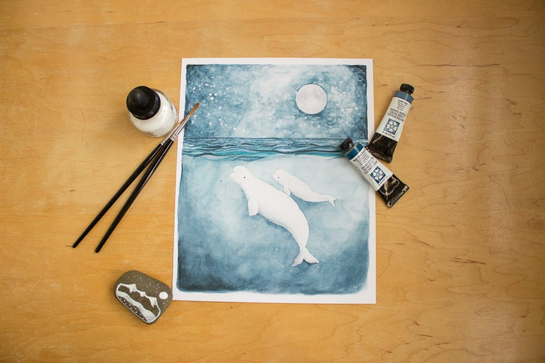 The White Whales  Beluga Whale Illustration. Watercolor image 0
