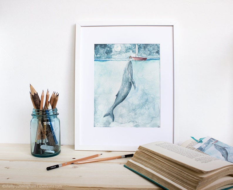 Heart of the Sea  Watercolor Painting. Whale and Girl.  Whale image 0
