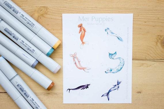 Mer-Puppy Stickers - set of 12 mermaid dog round stickers  Corgi,  dachshund, dalmation, shih tzu, german shepherd, yellow lab mermaid dogs