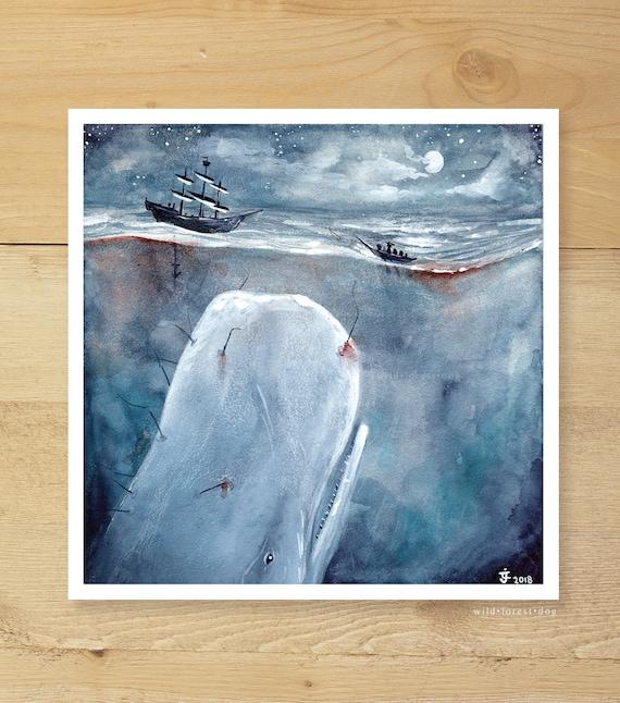 Die Walfänger | Aquarell Malerei. Moby Dick Illustration. Der Weiße Wal. Wal Kunst. Moby Dick. Nautische Kunst. Maritime Kunst. Strand Dekor.