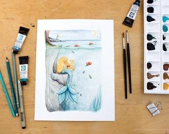Flower Mermaid | Watercolor Painting. Mermaid Watercolor. Whimsical. Mermaid Decor. Fantasy Art. Kids Decor. Beach Decor.
